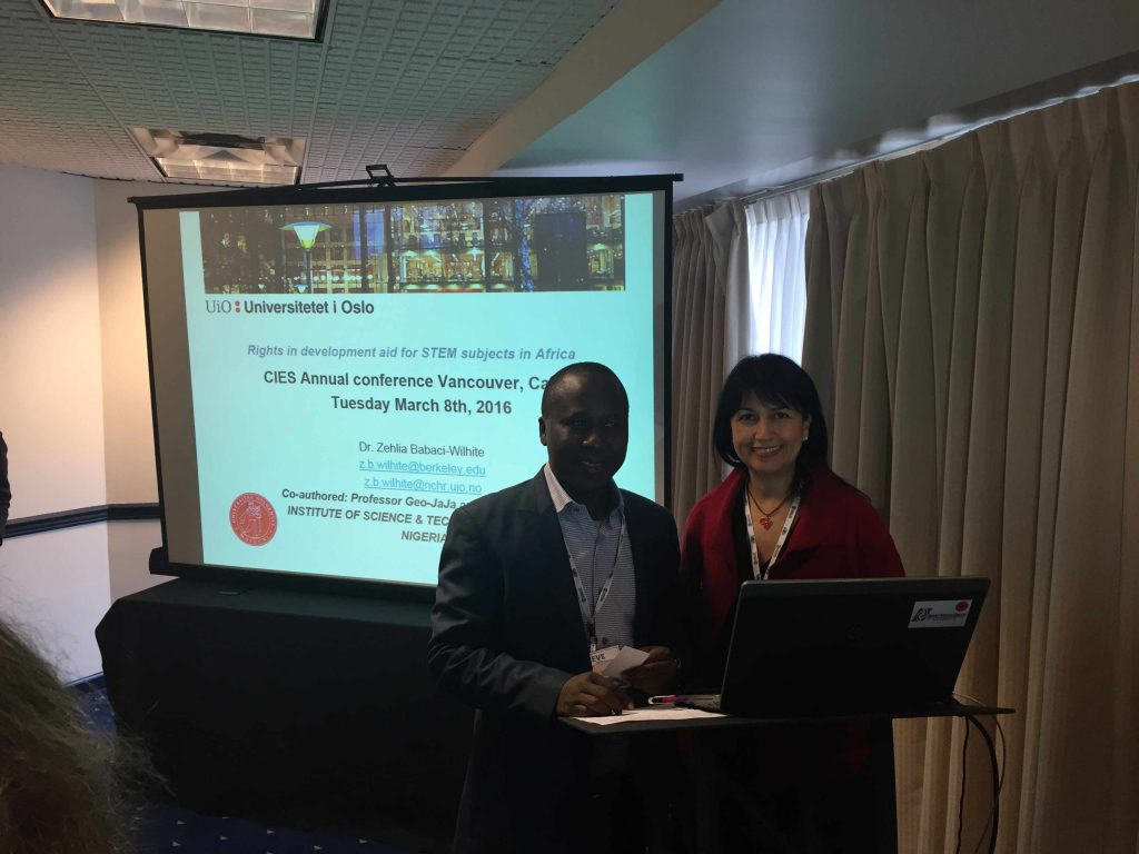 Prof Steve Azaiki and Prof Zehlia Babaci-Wilhite at the CIES conference vancuover in March 2016